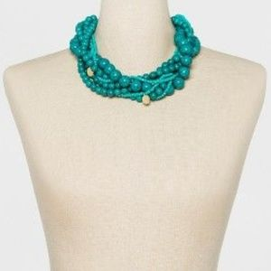 Turquoise Beaded Statement Necklace W Gold Coins